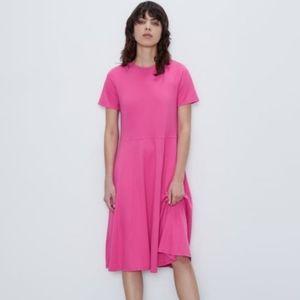 NWT Zara A Line Midi Teeshirt Dress in Hot Pink